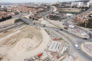Copyright : Matthieu Colin France, Bouches-du-Rhône (13), Marseille, échangeur des Arnavaux, chantier de la rocade L2, Spie Batignolles (vue aérienne)